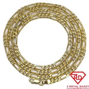 Thin Figaro link Chain 24 inch Necklace 18K gold